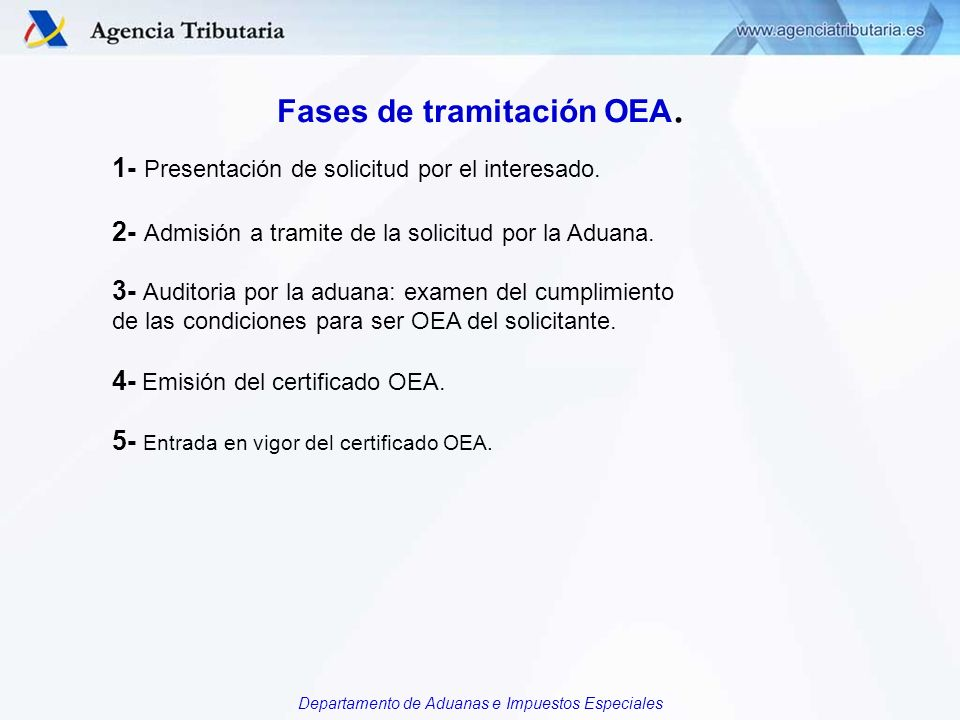 Fases de tramitación OEA.