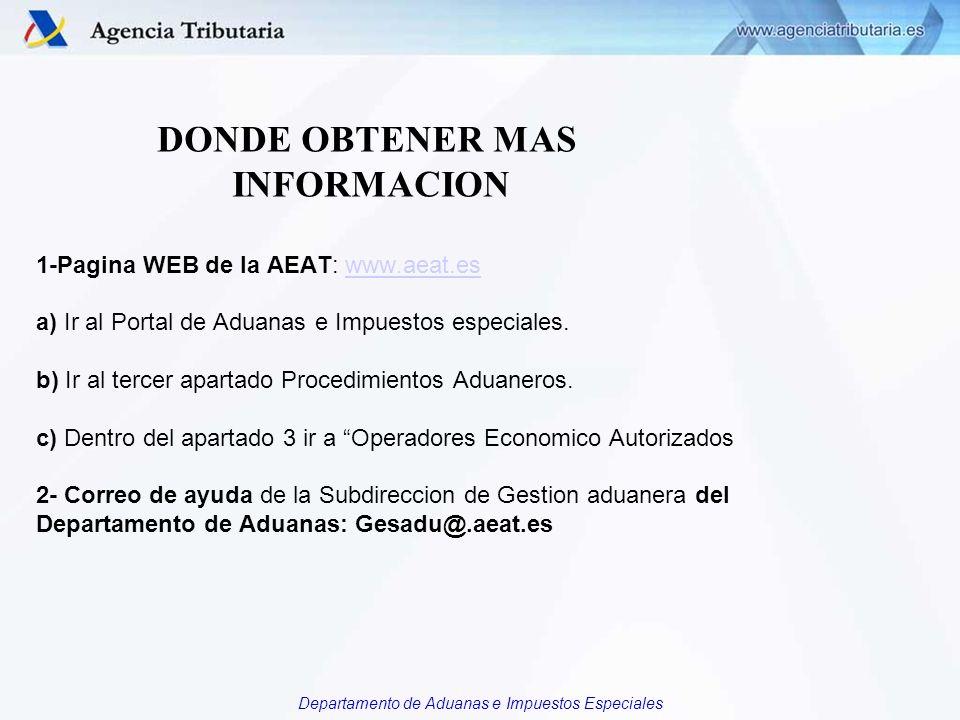 DONDE OBTENER MAS INFORMACION 1-Pagina WEB de la AEAT: www. aeat