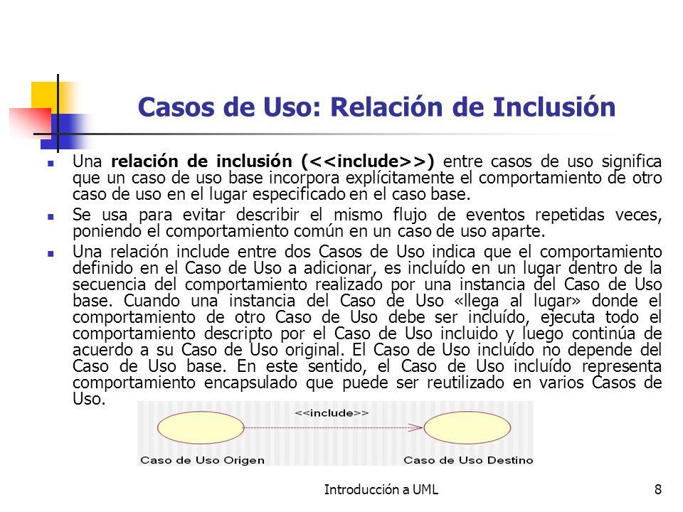 Casos de Uso: Relación de Inclusión