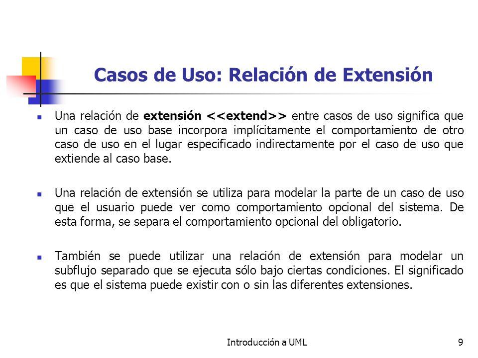 Casos de Uso: Relación de Extensión