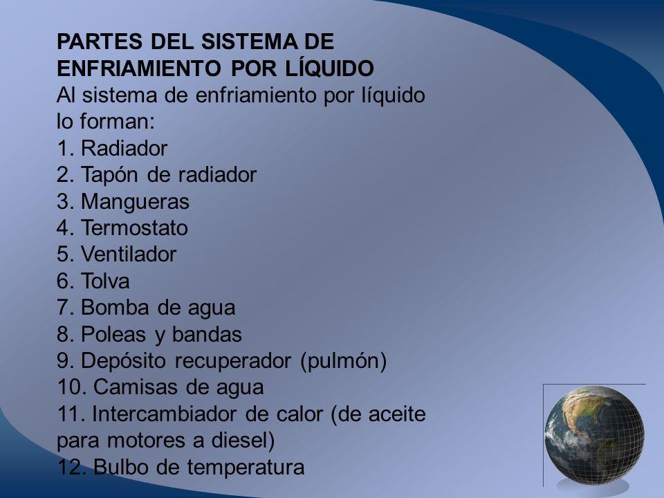 PARTES DEL SISTEMA DE ENFRIAMIENTO POR LÍQUIDO. Al sistema de enfriamiento por líquido. lo forman: