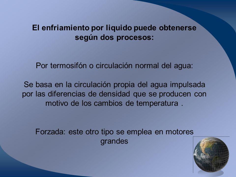 El enfriamiento por liquido puede obtenerse según dos procesos: