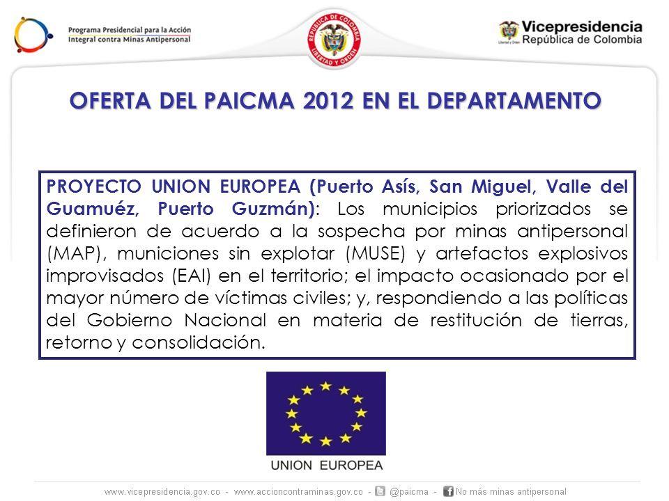OFERTA DEL PAICMA 2012 EN EL DEPARTAMENTO