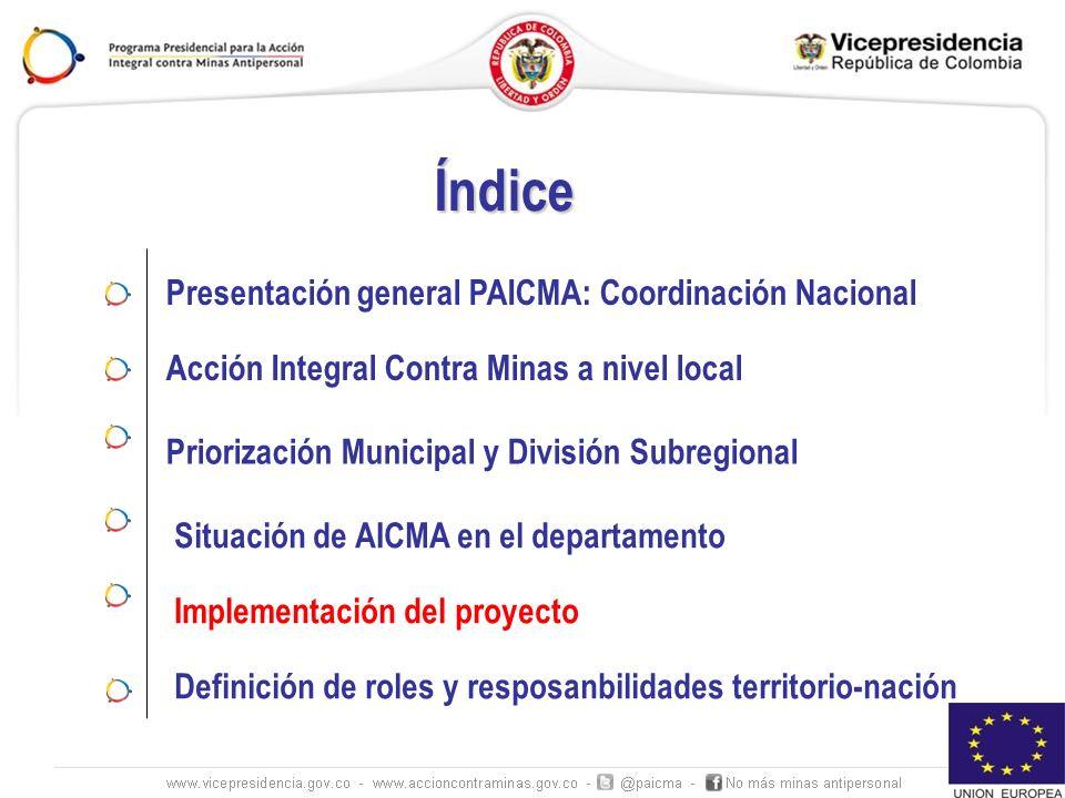 Índice Presentación general PAICMA: Coordinación Nacional