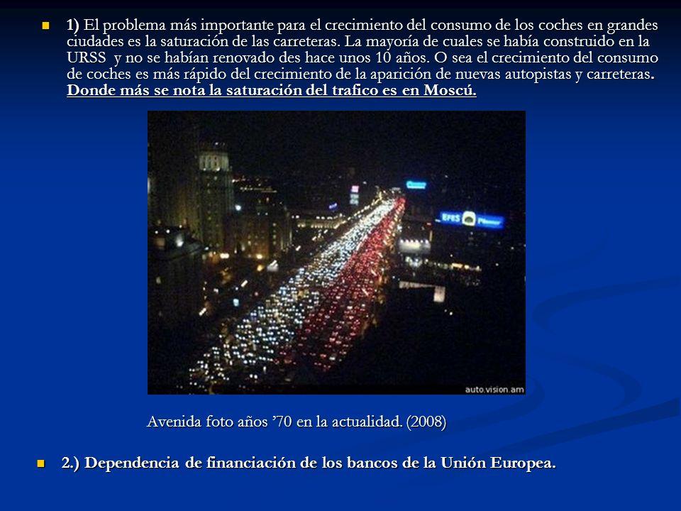 1) El problema más importante para el crecimiento del consumo de los coches en grandes ciudades es la saturación de las carreteras. La mayoría de cuales se había construido en la URSS y no se habían renovado des hace unos 10 años. O sea el crecimiento del consumo de coches es más rápido del crecimiento de la aparición de nuevas autopistas y carreteras. Donde más se nota la saturación del trafico es en Moscú.