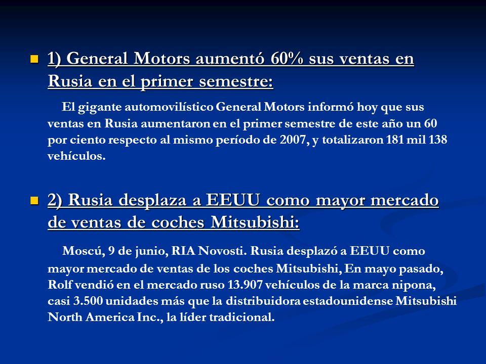 1) General Motors aumentó 60% sus ventas en Rusia en el primer semestre: