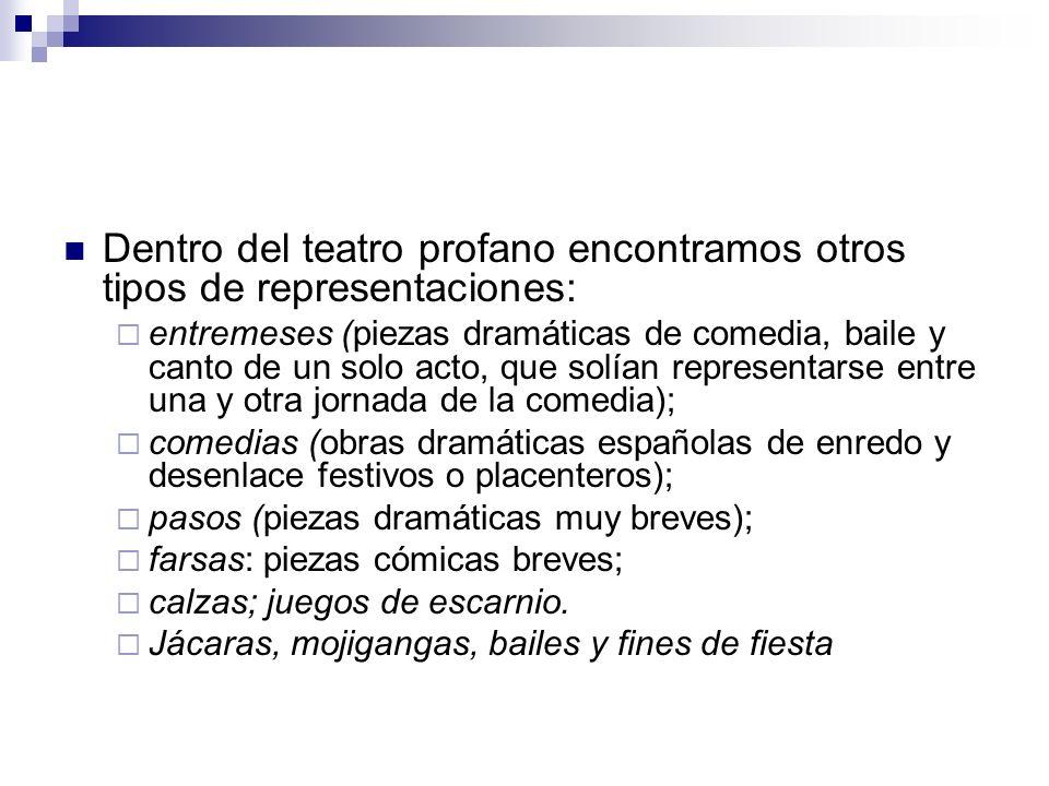 Dentro del teatro profano encontramos otros tipos de representaciones: