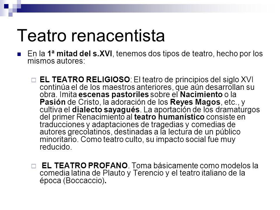 Teatro renacentista En la 1ª mitad del s.XVI, tenemos dos tipos de teatro, hecho por los mismos autores: