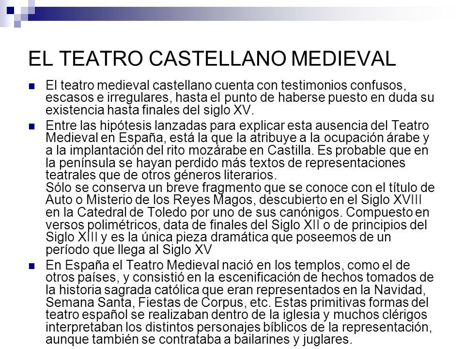 EL TEATRO CASTELLANO MEDIEVAL