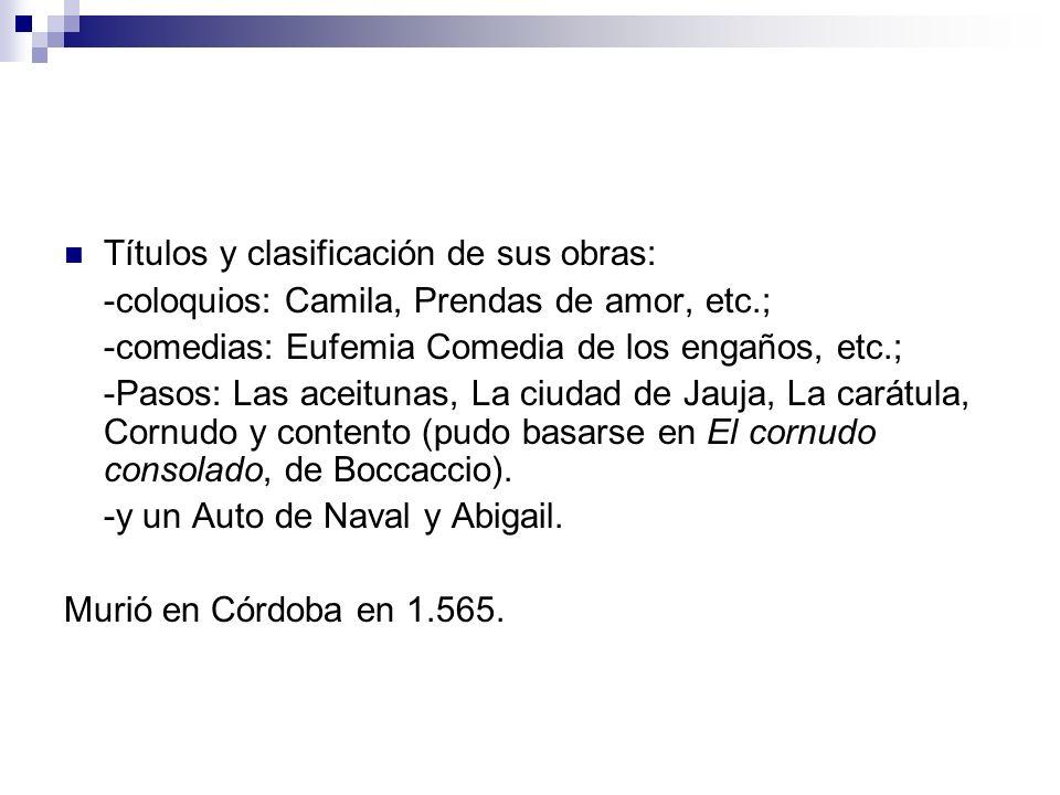 Títulos y clasificación de sus obras: