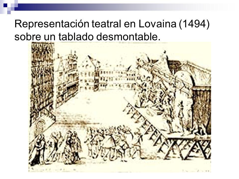 Representación teatral en Lovaina (1494) sobre un tablado desmontable.