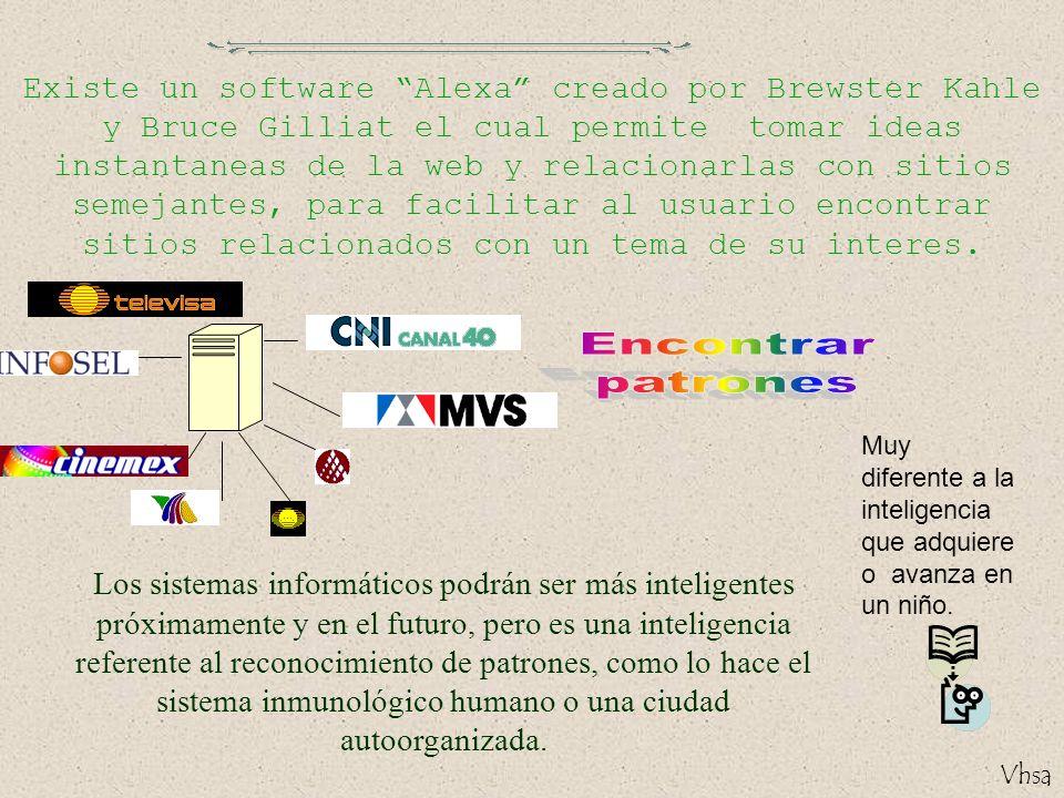 Existe un software Alexa creado por Brewster Kahle y Bruce Gilliat el cual permite tomar ideas instantaneas de la web y relacionarlas con sitios semejantes, para facilitar al usuario encontrar sitios relacionados con un tema de su interes.