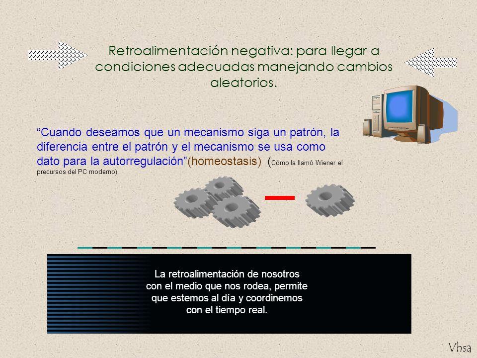 Retroalimentación negativa: para llegar a condiciones adecuadas manejando cambios aleatorios.