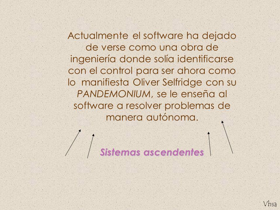 Actualmente el software ha dejado de verse como una obra de ingeniería donde solía identificarse con el control para ser ahora como lo manifiesta Oliver Selfridge con su PANDEMONIUM, se le enseña al software a resolver problemas de manera autónoma.