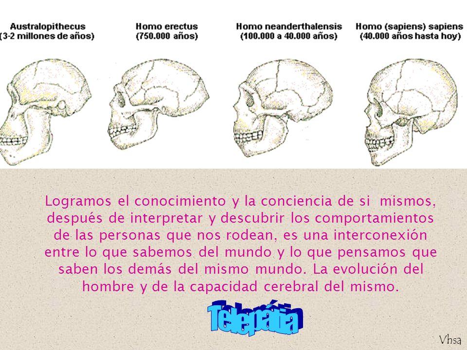 Logramos el conocimiento y la conciencia de si mismos, después de interpretar y descubrir los comportamientos de las personas que nos rodean, es una interconexión entre lo que sabemos del mundo y lo que pensamos que saben los demás del mismo mundo. La evolución del hombre y de la capacidad cerebral del mismo.