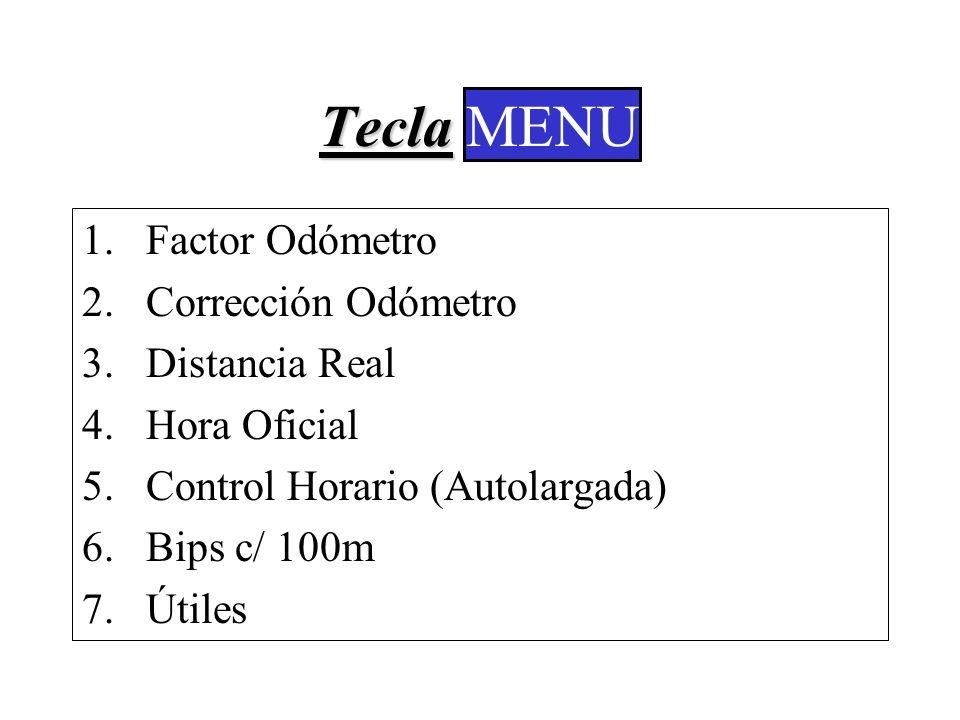 Tecla MENU MENU Factor Odómetro Corrección Odómetro Distancia Real