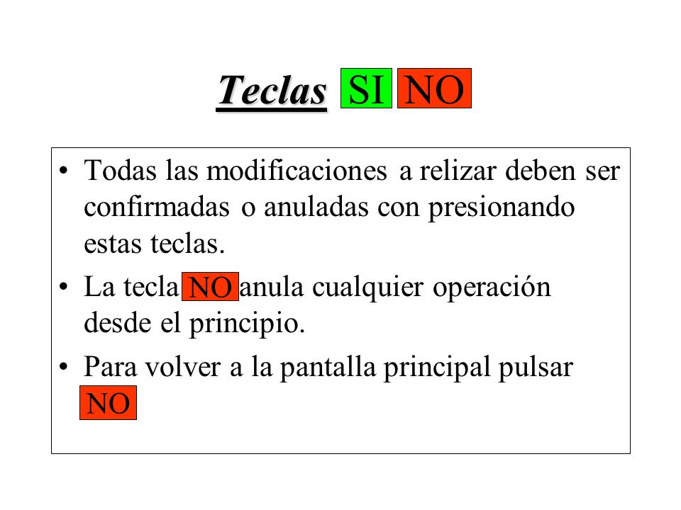 Teclas SI NO SI. NO. Todas las modificaciones a relizar deben ser confirmadas o anuladas con presionando estas teclas.