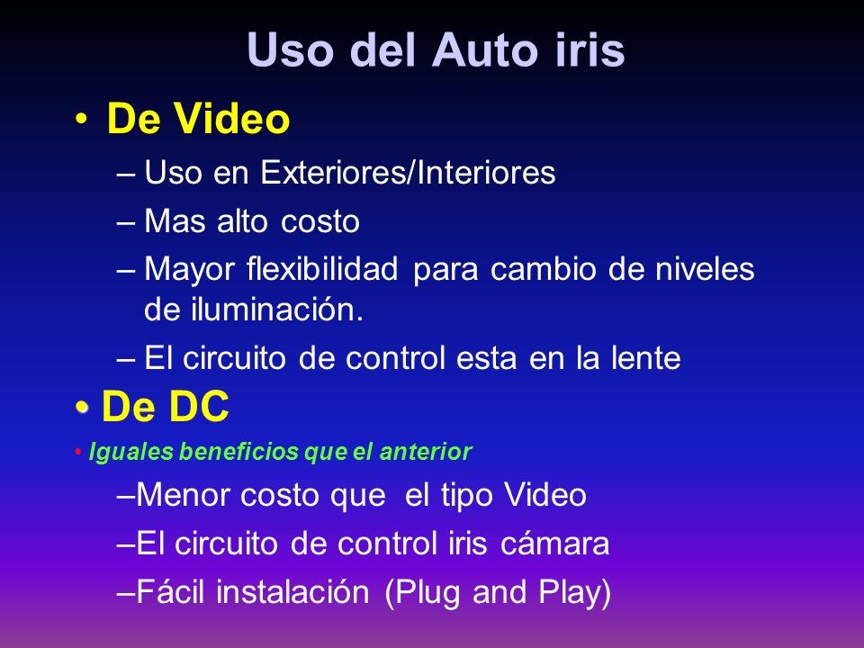 Uso del Auto iris De Video De DC Uso en Exteriores/Interiores