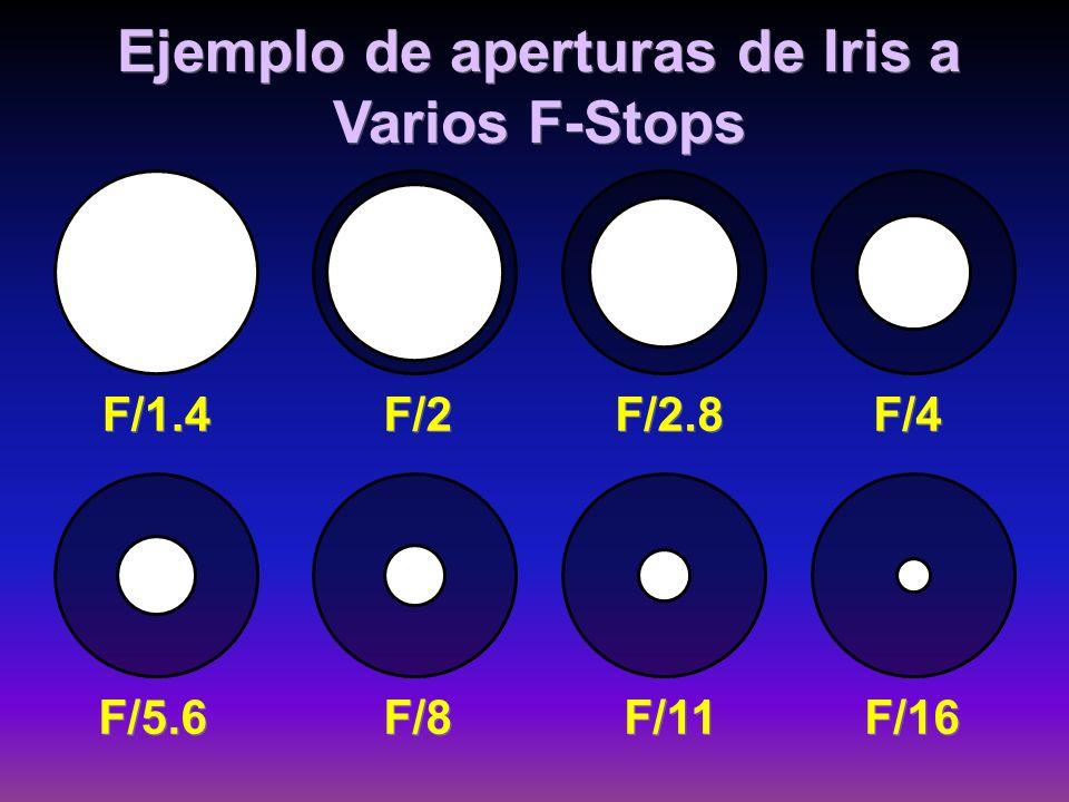 Ejemplo de aperturas de Iris a Varios F-Stops