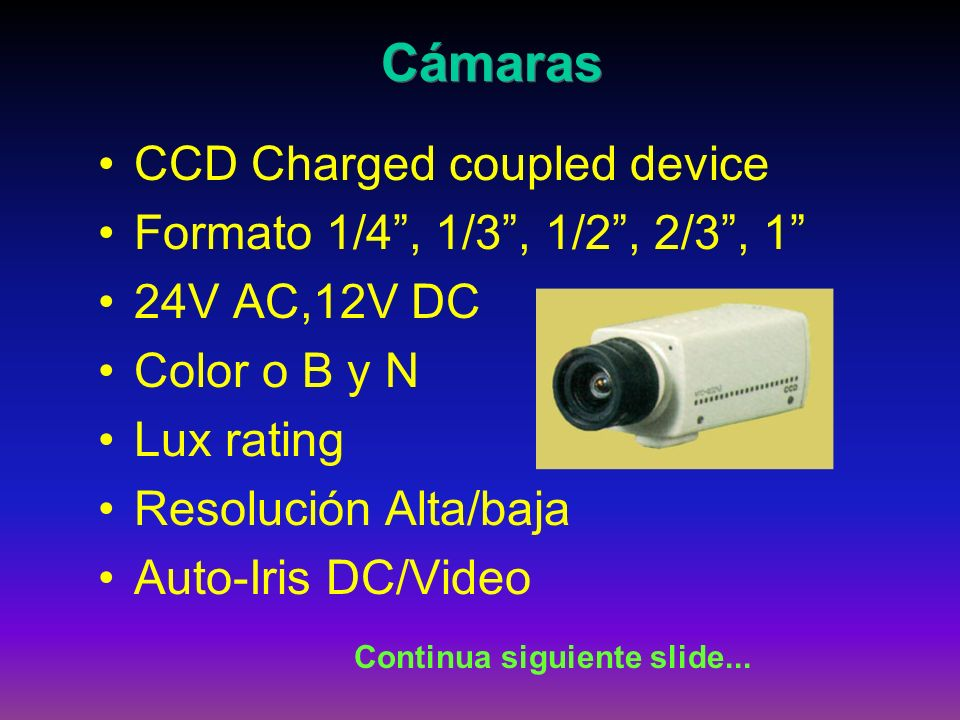 Cámaras CCD Charged coupled device Formato 1/4 , 1/3 , 1/2 , 2/3 , 1