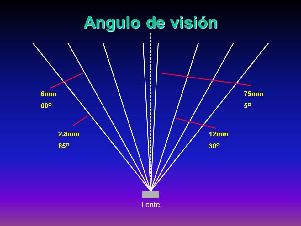 Angulo de visión Lente 2.8mm 85O 6mm 60O 12mm 30O 75mm 5O
