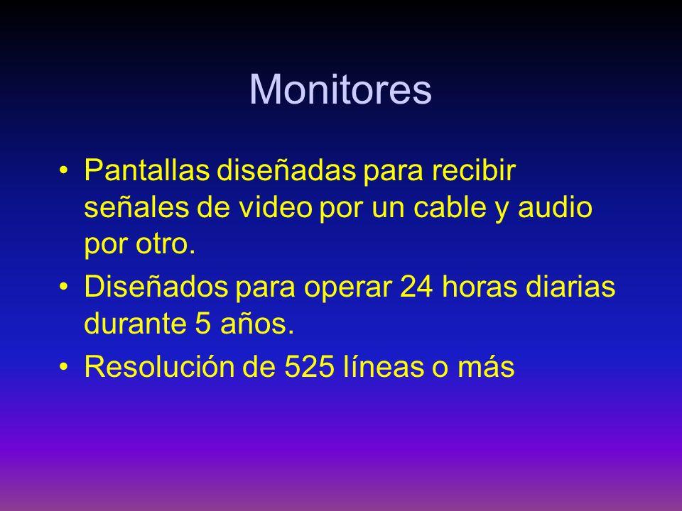 Monitores Pantallas diseñadas para recibir señales de video por un cable y audio por otro. Diseñados para operar 24 horas diarias durante 5 años.