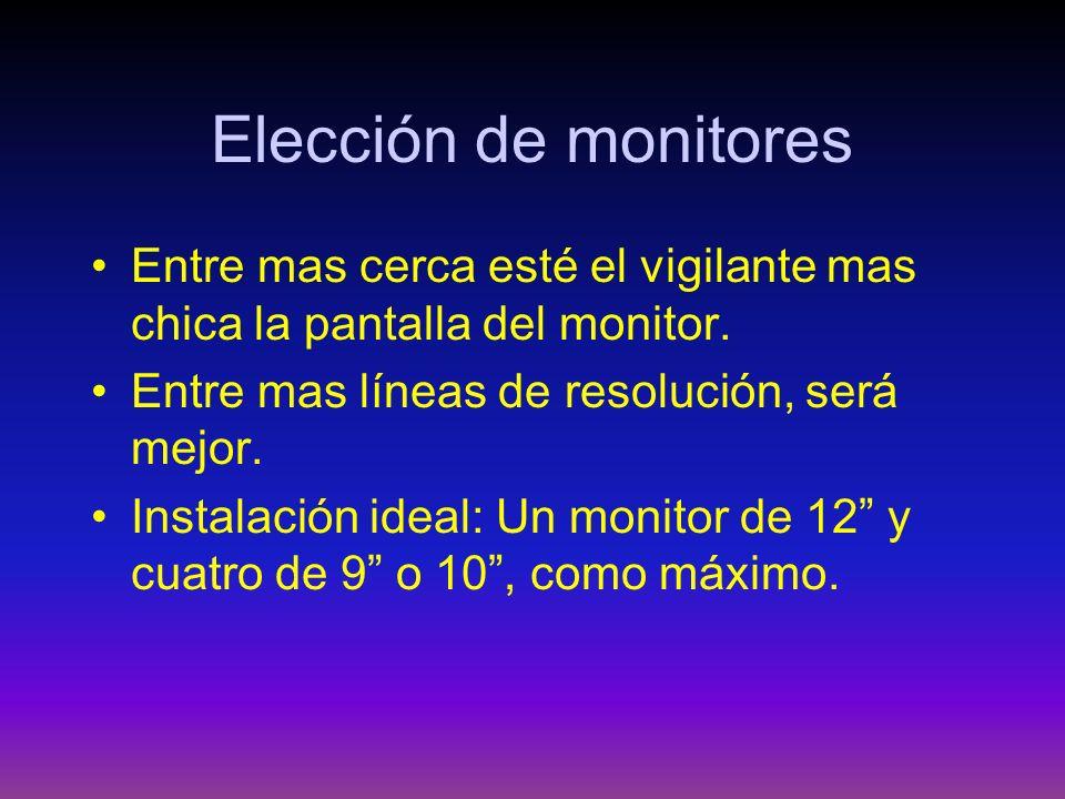 Elección de monitores Entre mas cerca esté el vigilante mas chica la pantalla del monitor. Entre mas líneas de resolución, será mejor.
