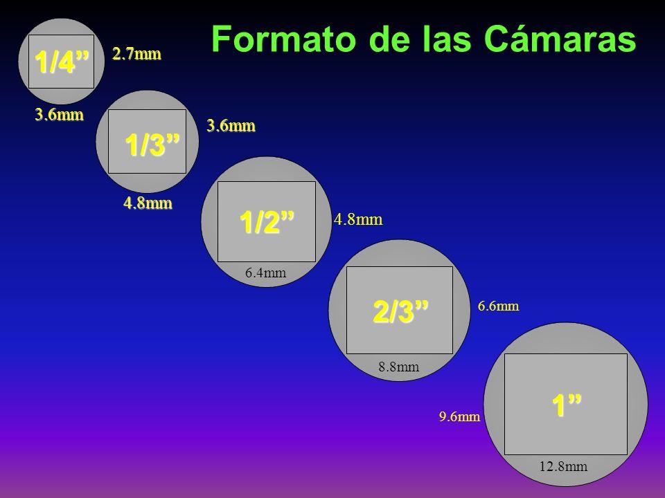 Formato de las Cámaras 1/4 1/3 1/2 2/3 1 2.7mm 3.6mm 3.6mm 4.8mm