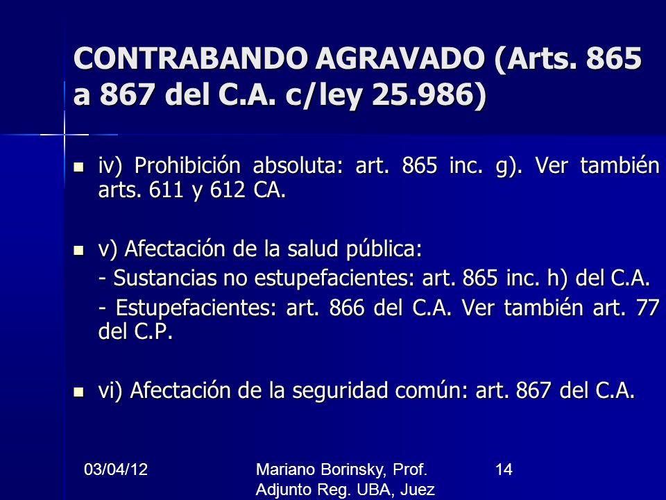 CONTRABANDO AGRAVADO (Arts. 865 a 867 del C.A. c/ley 25.986)