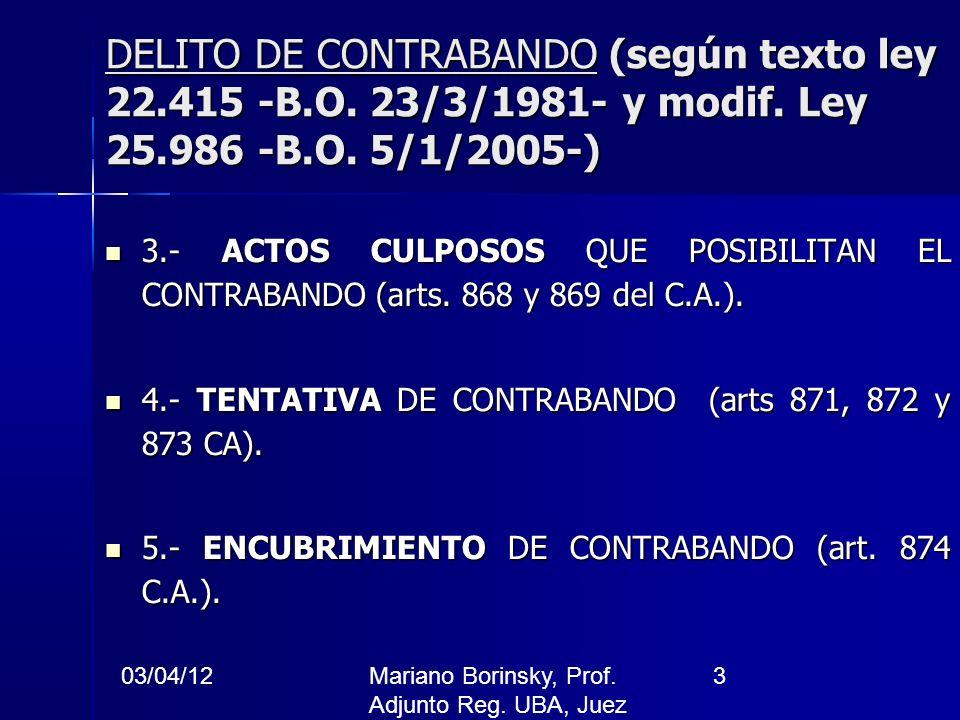 DELITO DE CONTRABANDO (según texto ley 22. 415 -B. O