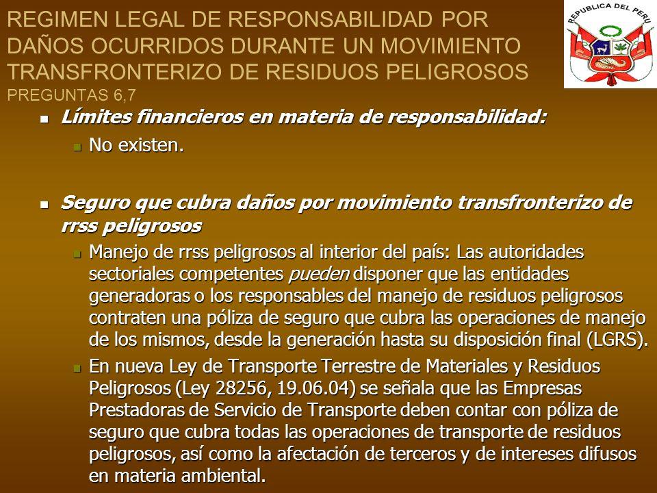 REGIMEN LEGAL DE RESPONSABILIDAD POR DAÑOS OCURRIDOS DURANTE UN MOVIMIENTO TRANSFRONTERIZO DE RESIDUOS PELIGROSOS PREGUNTAS 6,7