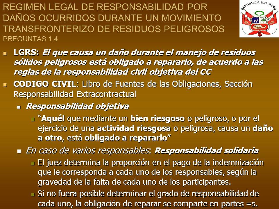 REGIMEN LEGAL DE RESPONSABILIDAD POR DAÑOS OCURRIDOS DURANTE UN MOVIMIENTO TRANSFRONTERIZO DE RESIDUOS PELIGROSOS PREGUNTAS 1,4