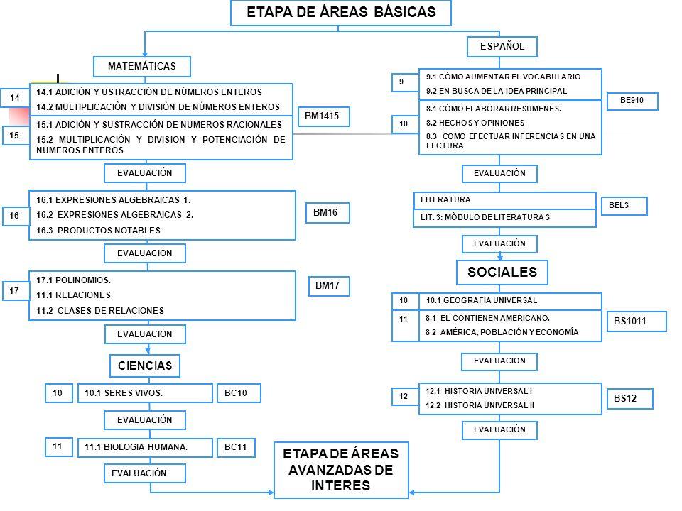 ETAPA DE ÁREAS AVANZADAS DE INTERES