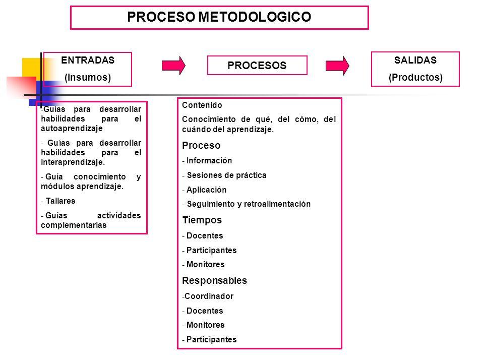 PROCESO METODOLOGICO PROCESOS ENTRADAS SALIDAS (Insumos) (Productos)