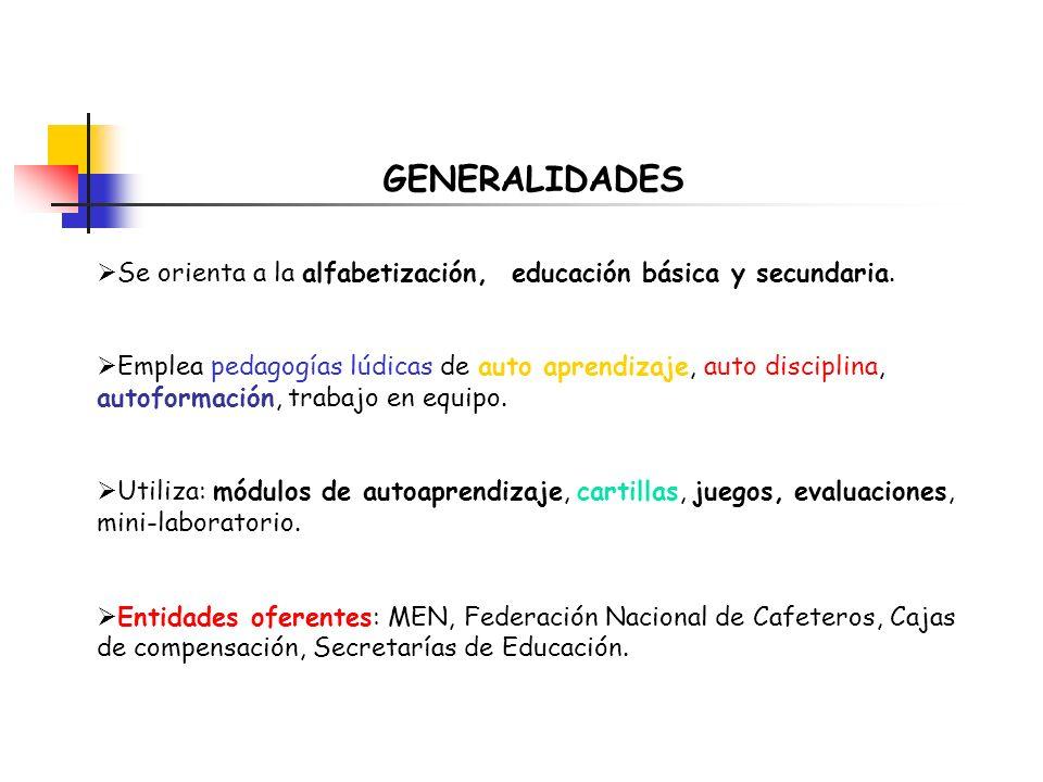 GENERALIDADES Se orienta a la alfabetización, educación básica y secundaria.