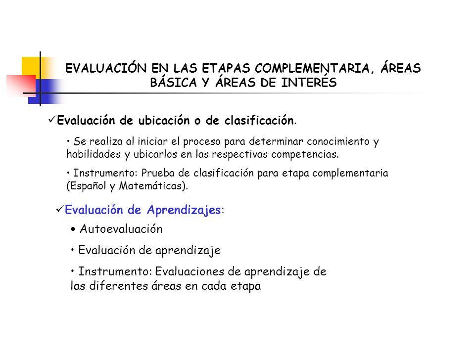 Evaluación de ubicación o de clasificación.