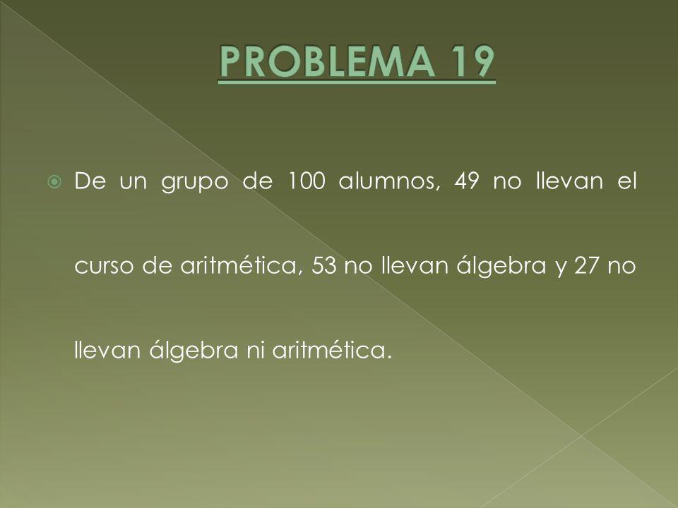 PROBLEMA 19 De un grupo de 100 alumnos, 49 no llevan el curso de aritmética, 53 no llevan álgebra y 27 no llevan álgebra ni aritmética.