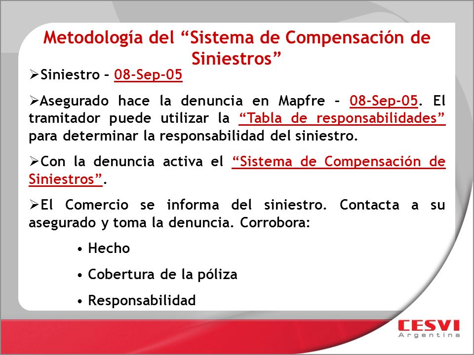 Metodología del Sistema de Compensación de Siniestros
