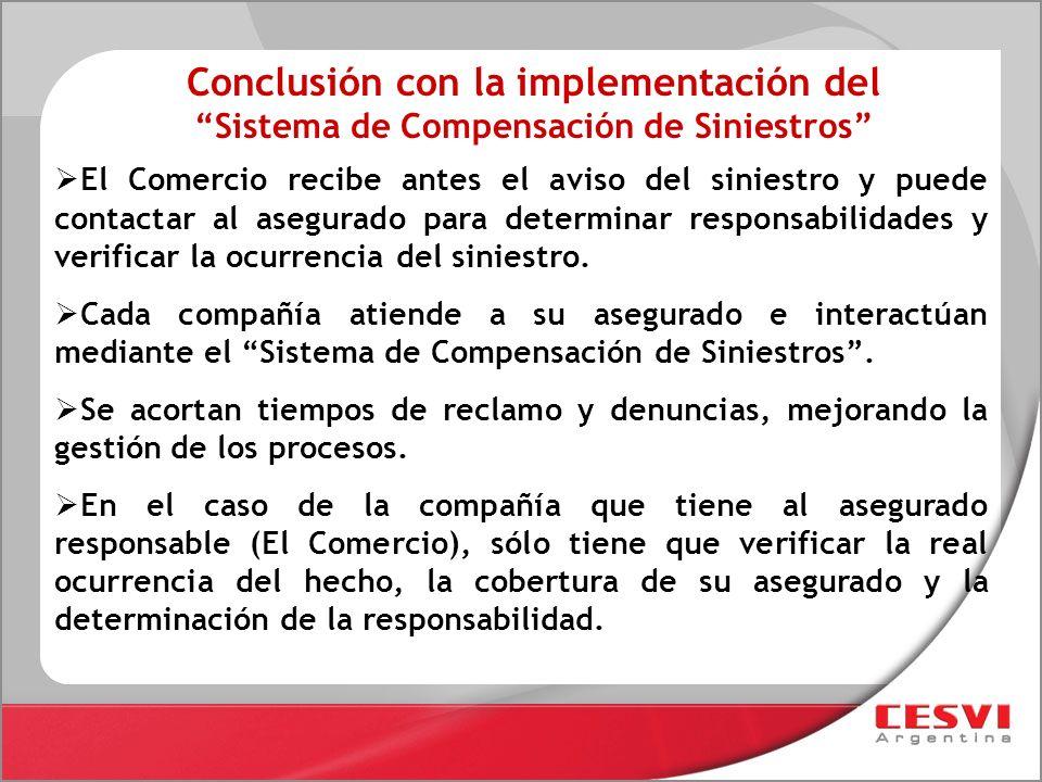 Conclusión con la implementación del Sistema de Compensación de Siniestros
