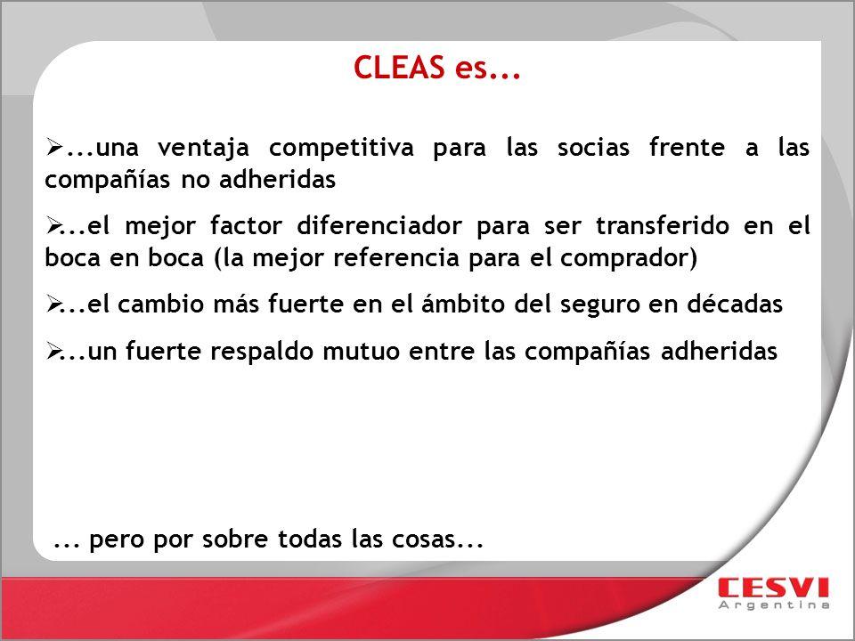 CLEAS es... ...una ventaja competitiva para las socias frente a las compañías no adheridas.