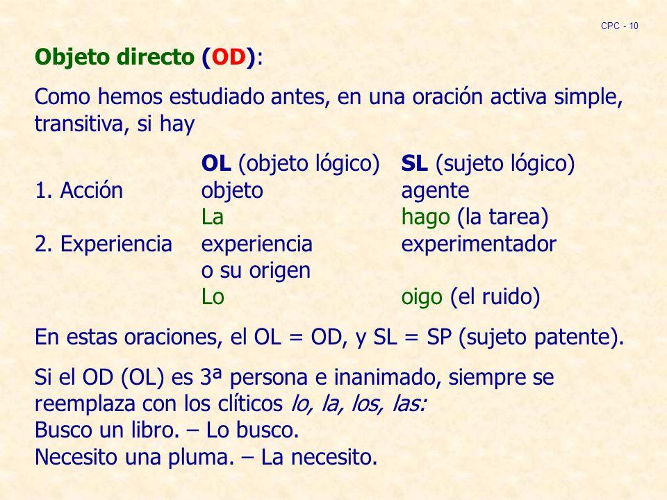En estas oraciones, el OL = OD, y SL = SP (sujeto patente).