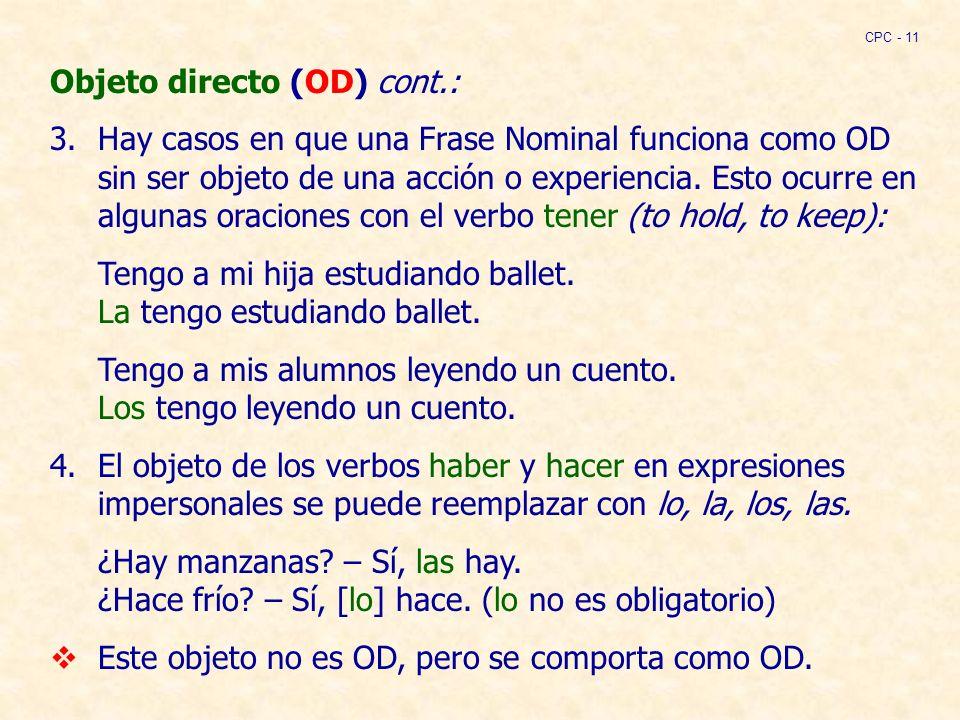 Objeto directo (OD) cont.: