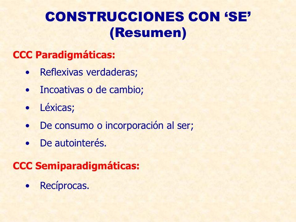 CONSTRUCCIONES CON 'SE' (Resumen)