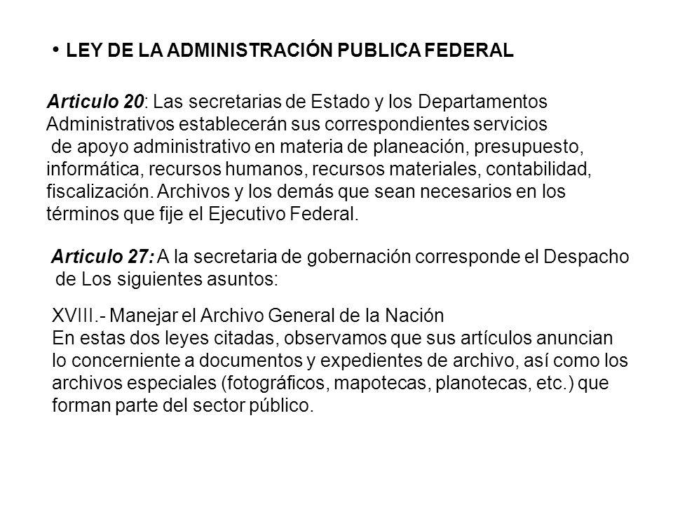 LEY DE LA ADMINISTRACIÓN PUBLICA FEDERAL