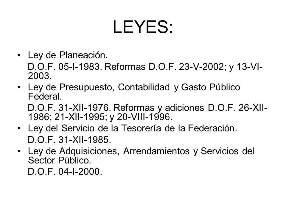 LEYES: Ley de Planeación.