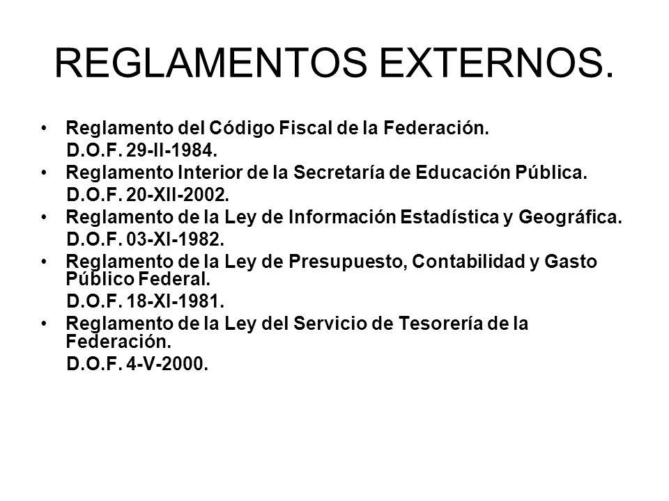 REGLAMENTOS EXTERNOS. Reglamento del Código Fiscal de la Federación.