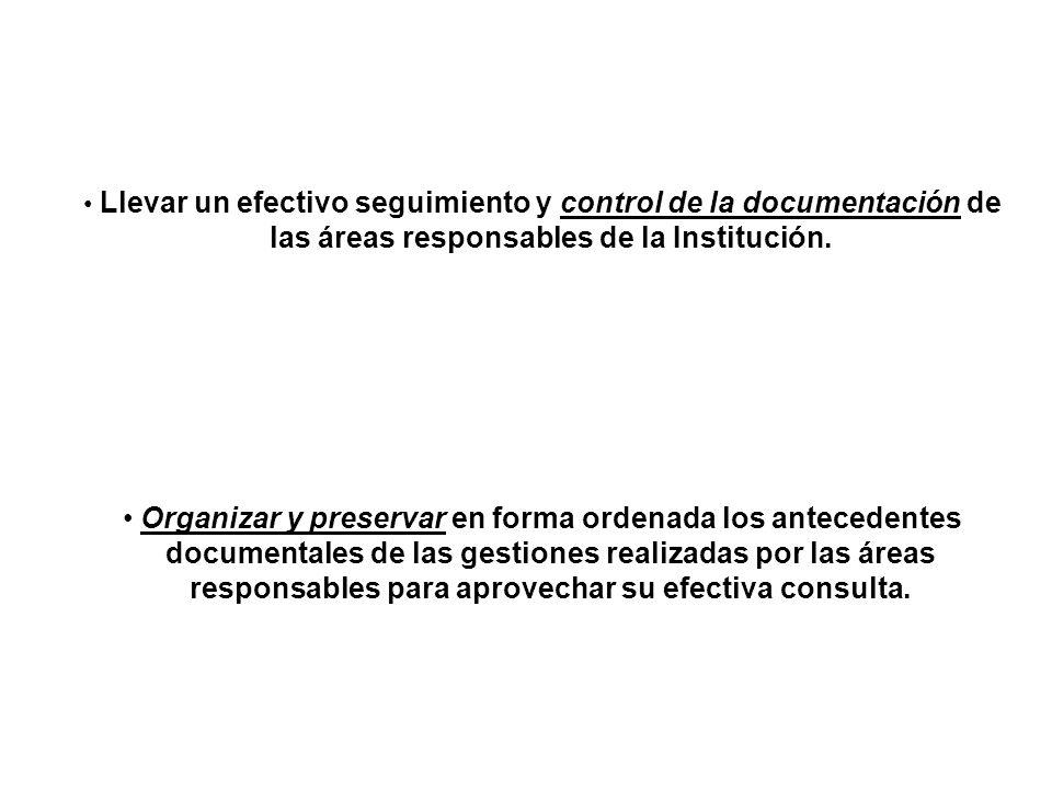 las áreas responsables de la Institución.