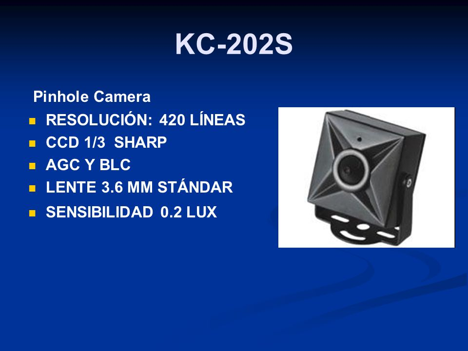 KC-202S Pinhole Camera RESOLUCIÓN: 420 LÍNEAS CCD 1/3 SHARP AGC Y BLC