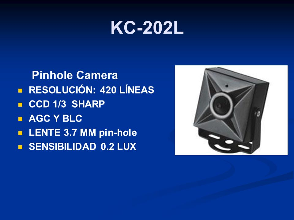 KC-202L Pinhole Camera RESOLUCIÓN: 420 LÍNEAS CCD 1/3 SHARP AGC Y BLC