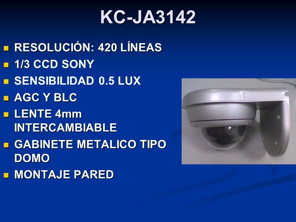 KC-JA3142 RESOLUCIÓN: 420 LÍNEAS 1/3 CCD SONY SENSIBILIDAD 0.5 LUX